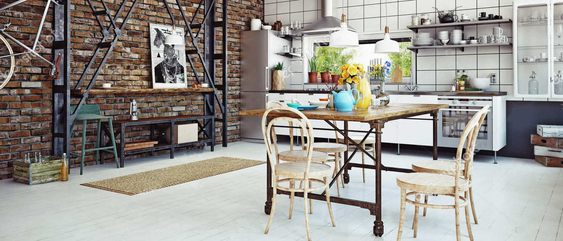 Mise en situaion table de cuisine acier industriel avec plateau bois