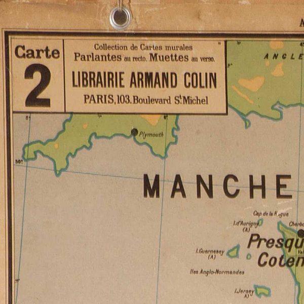 Ancienne carte murale France Cours d'eau n° 2