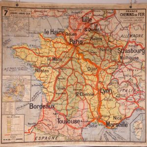 Carte murale France Chemins de fer n° 7 ancienne