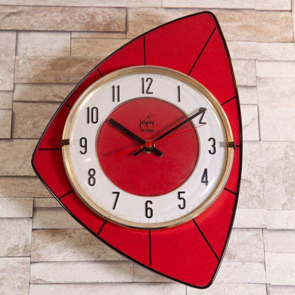 Horloge murale Japy formica rouge
