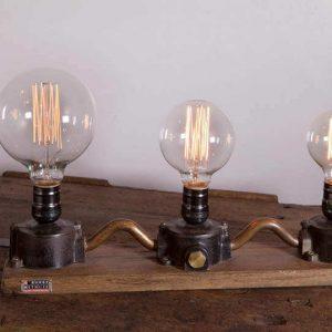 Lampe design 2 style loft industriel 3 ampoules filament