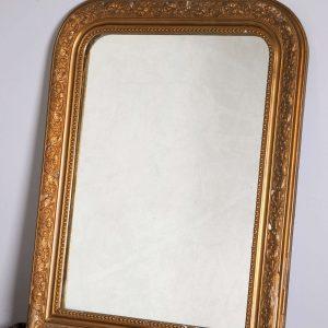 Miroir Louis-Philippe en bois sculpté - Encadrement doré