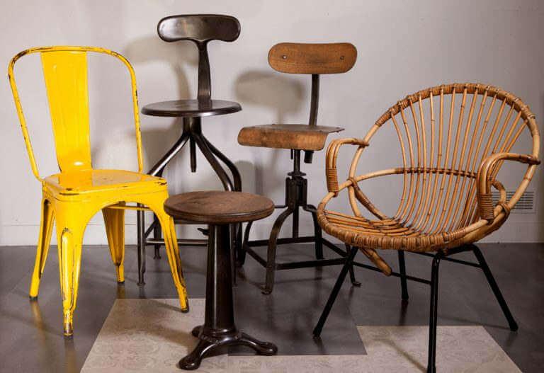Chaise tabouret meuble industriel atelier 19e siècle