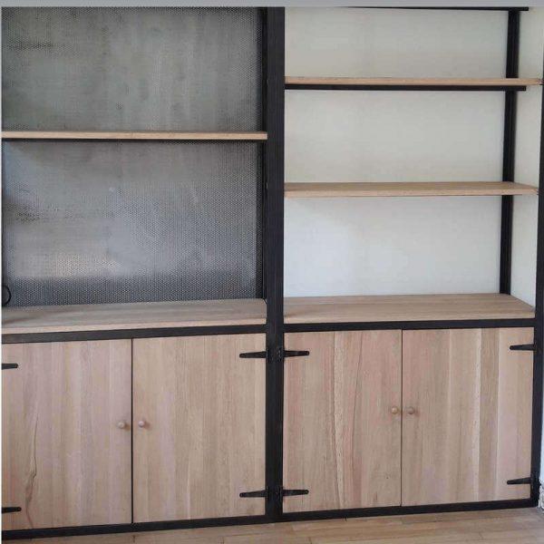 Bibliothèque Industrielle bois métal BRAVO GOLF