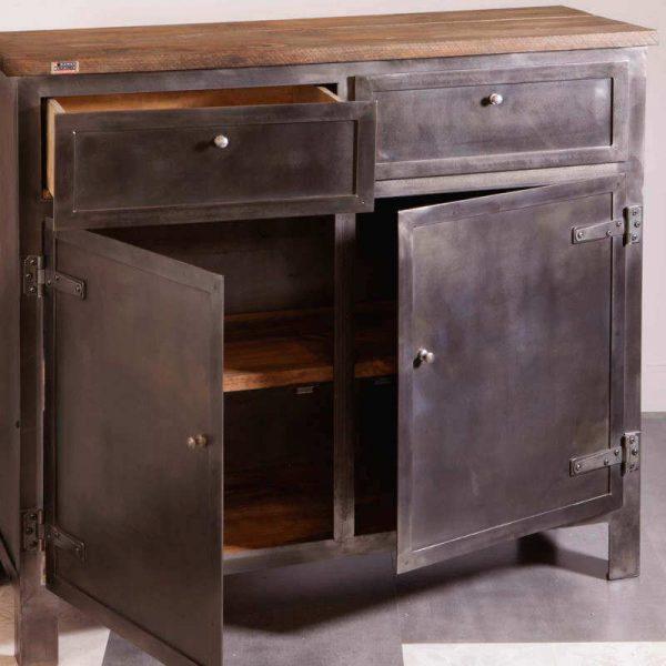 Buffet parisien acier style industriel 2 portes 2 tiroirs, plateau bois