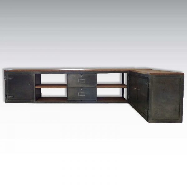 Enfilade loft meuble TV sur mesure acier bois