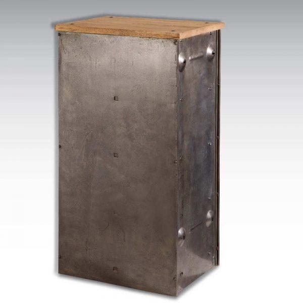 Meuble colonne industrielle 4 clapets Ronéo acier plateau bois