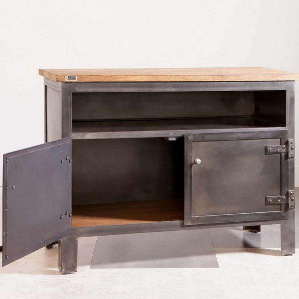 Meuble TV industriel sur mesure - acier bois