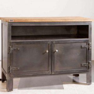 Meuble TV bravo echo à portes - sur mesure enmetal : 1 niche barre de son, 2 portes et plateau bois ciré