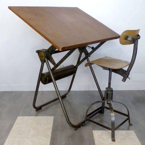 Table à dessin années 60 Heliolithe - Décoration industrielle Architecte
