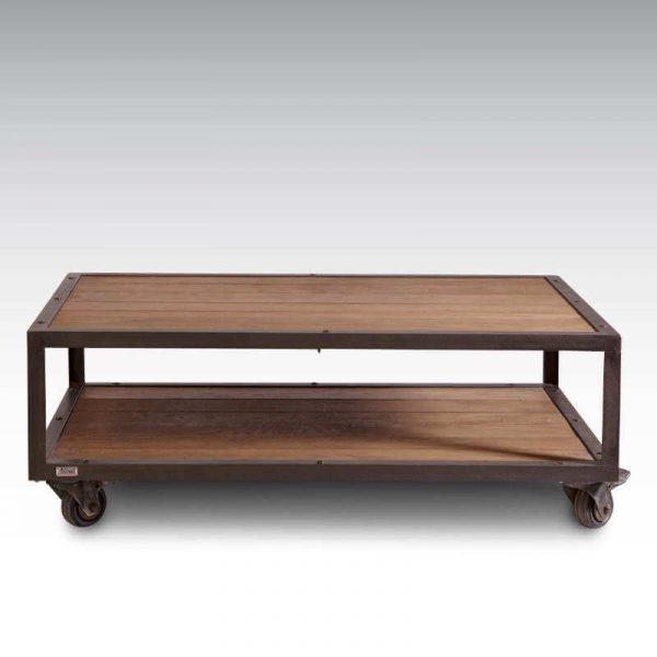 Table basse style industriel bois + acier, 4 roulettes avec frein