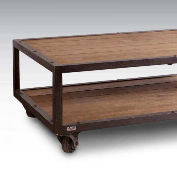 Table basse style industriel bois + acier, 4 roulettes