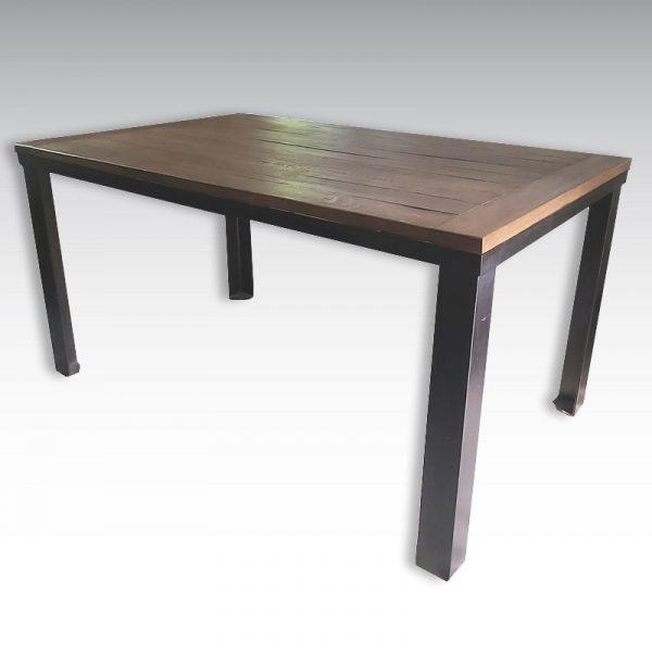 table haute acier et plateau chêne