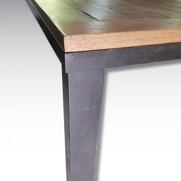 table haute acier et chêne fabriquée sur mesure