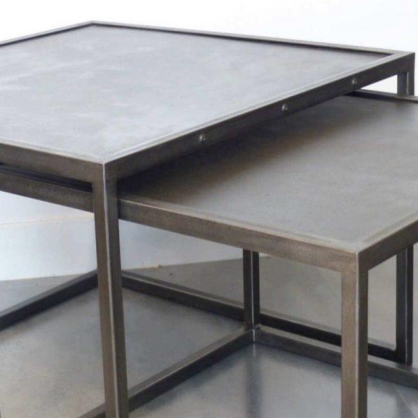 Tables basses acier - détails