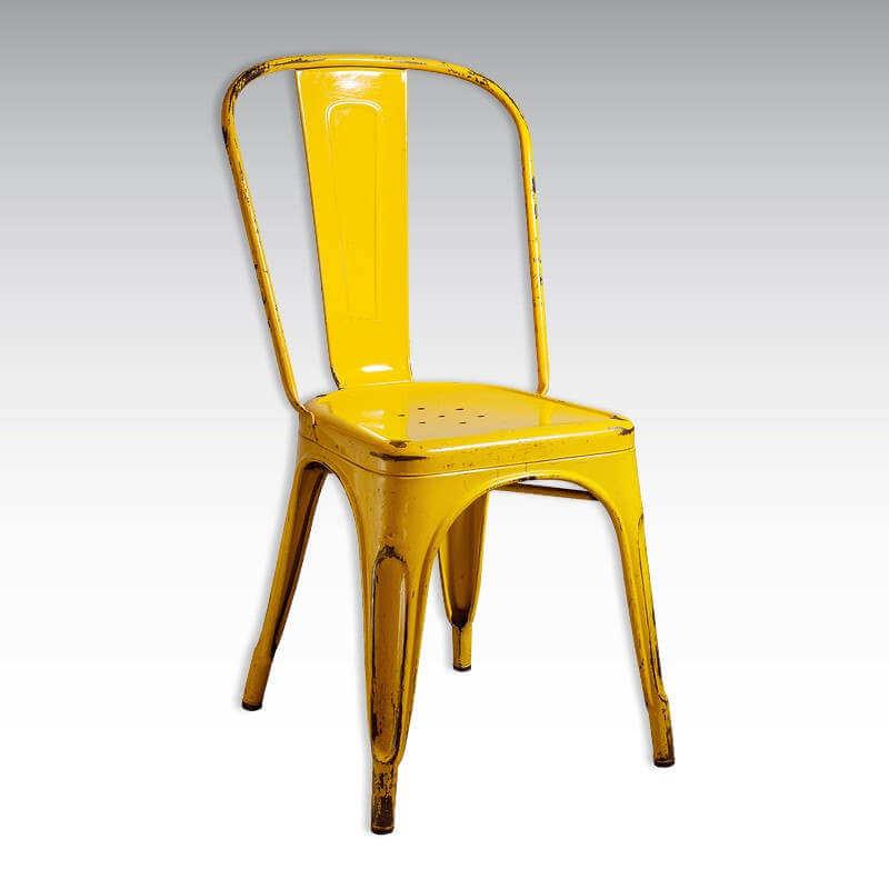 Chaise Industrielle Vintage Orange Metalic