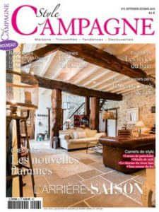 Style Campagne - Revue de presse Orange Metalic - Luminaire vintage sur trépied bois