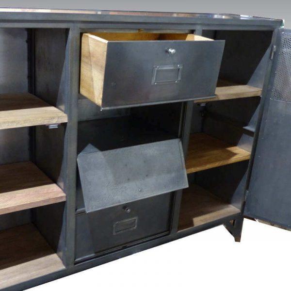 Buffet acier industriel 2 portes, 1 tiroir et 3 clapets