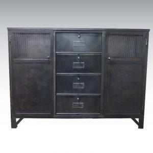 Buffet métal industriel 2 portes ajourées acier perforé 125cm
