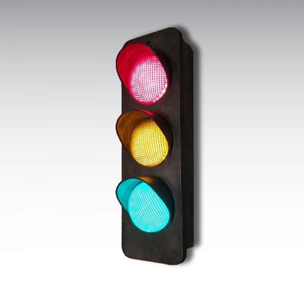feu de signalisation tricolore fonte décapé ciré