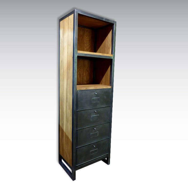 colonne bibliothèque industrielle vintage o-range-metalic
