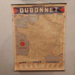 Carte routière murale de France vintage Dubonnet 1955