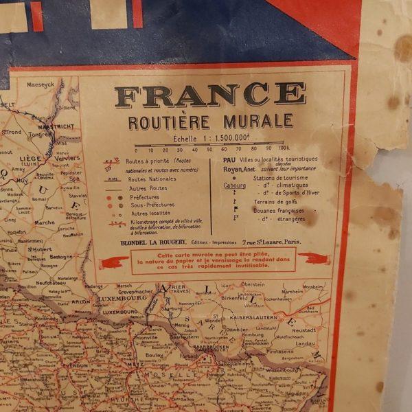 Carte routière murale de France vintage