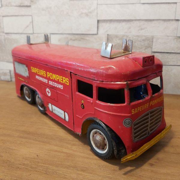Jouet ancien camion de sapeurs pompiers joustra made in france