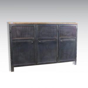 meuble de rangement type industriel 3 portes avec partie grillagée ajourée