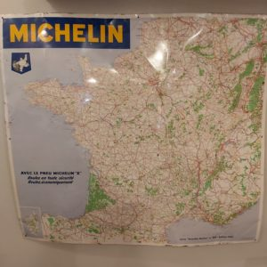Authentique Carte de France vintage en tôle Michelin 1965
