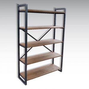 bibliothèque de style industriel acier brut et chêne