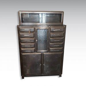 meuble cabinet dentaire acier 10 tiroirs 2 portes décapé et ciré