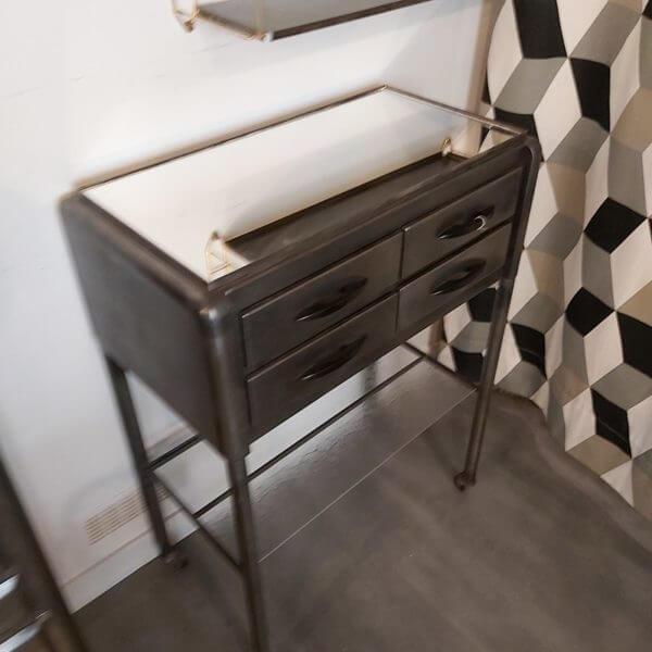 console de dentiste en métal 4 tiroir pour rangement poignée bakélite à roulettes plateau miroir