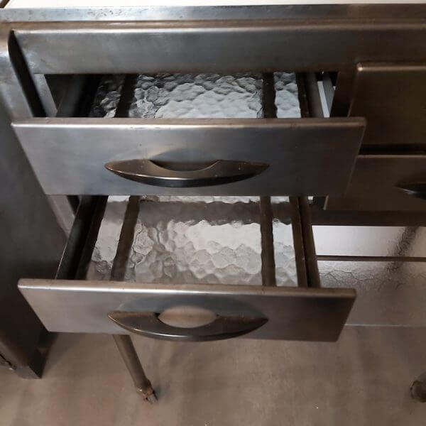 ancienne console de dentiste tiroir poignée origine fonds verre cathédrale métal