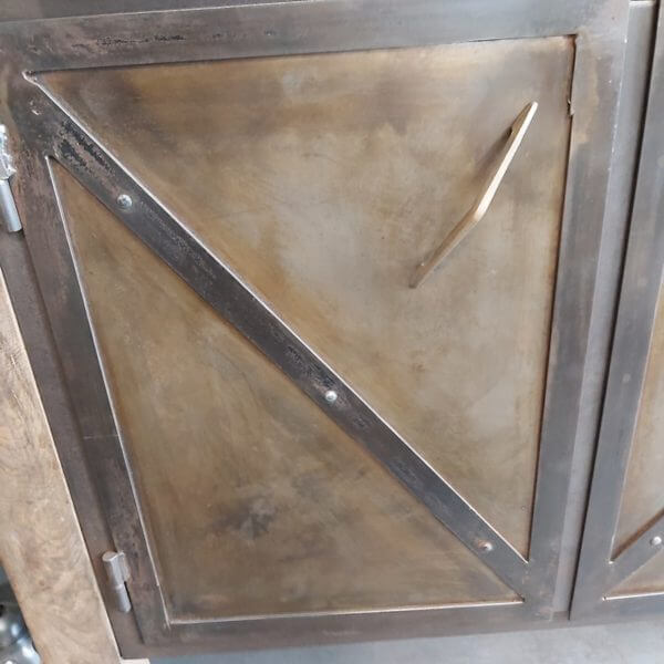 établi ancien porte fabrication sur mesure bois acier