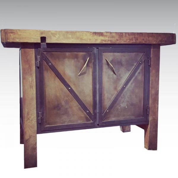 établi ancien bois acier 2 portes