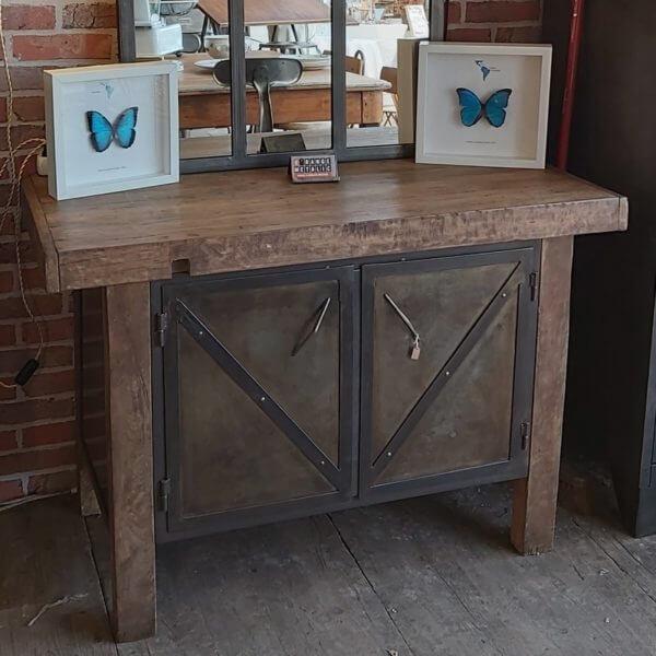 établi ancien bois meuble de métier bois acier