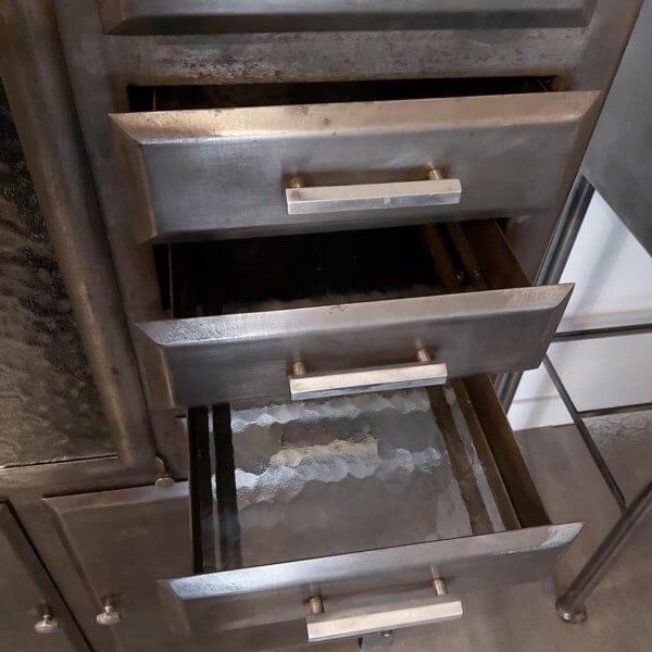 meuble dentaire ancien tiroir fonds verre cathédrale et poignée alu brossé
