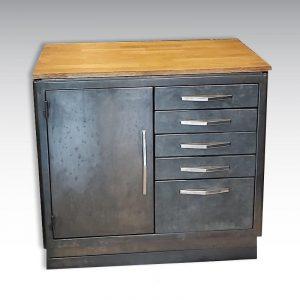 meuble de métier de dentiste acier bois 1 portes 5 tiroirs