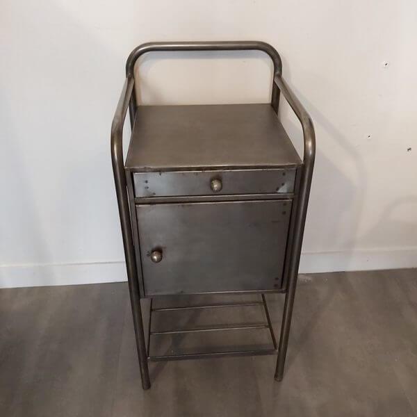 chevet hopital vintage acier brossé 1 tiroir et 1 niche