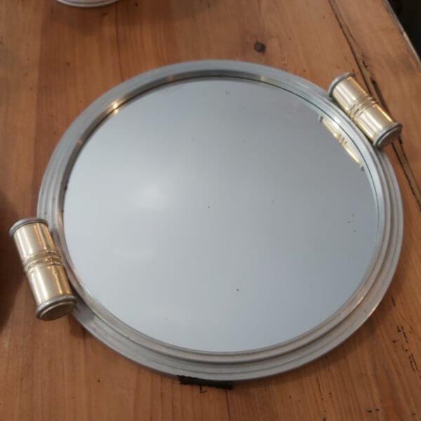 plateau miroir art déco de 37cm de diamètre