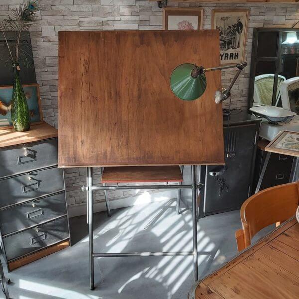 table d'architecte pied acier plateau bois