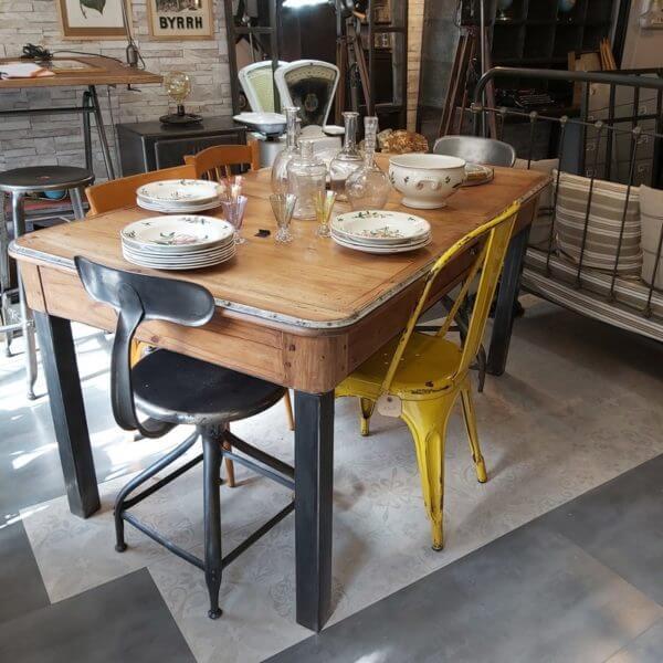 table ancienne 2 tiroirs 92x153cm
