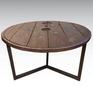 table basse touret avec cerclage metallique pieds acier fabriqués dans notre atelier