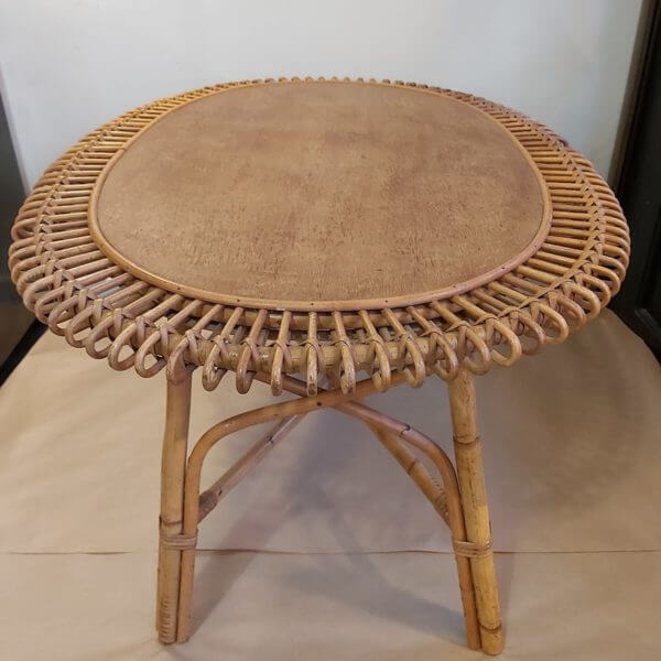 table basse ovale rotin année 60