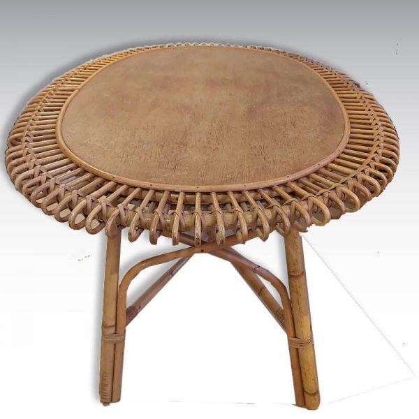 table en rotin soleil vintage