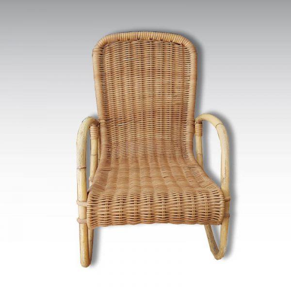 fauteuil rotin accoudoirs vintage enfant