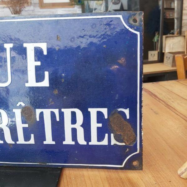 plaque émaillée vintage rue des pretres