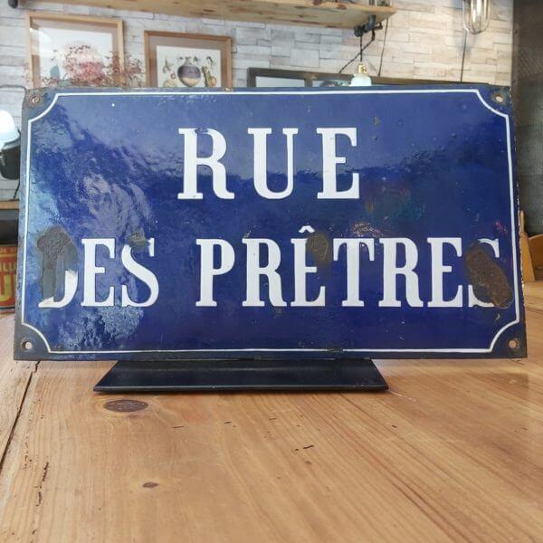 plaque émaillée de rue bleu et blanche