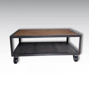 table basse bois acier perforé roulettes